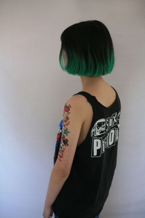 dark green dip dye short cropped chic hair grunge