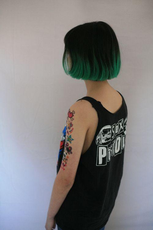 Dark Green Dip Dye Short Cropped Chic Hair Grunge