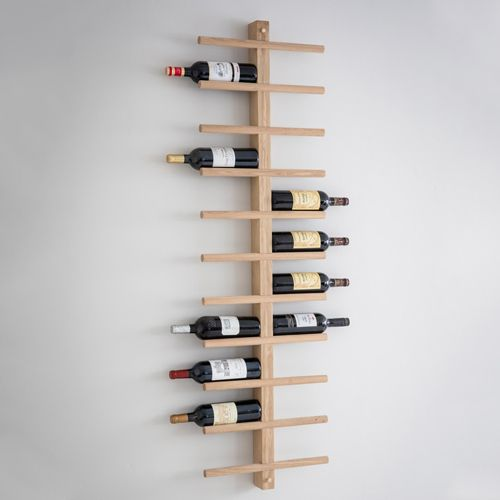 Stylish wall-mounted raw oak wine rack with space for 22 bottles of your favourite bott...