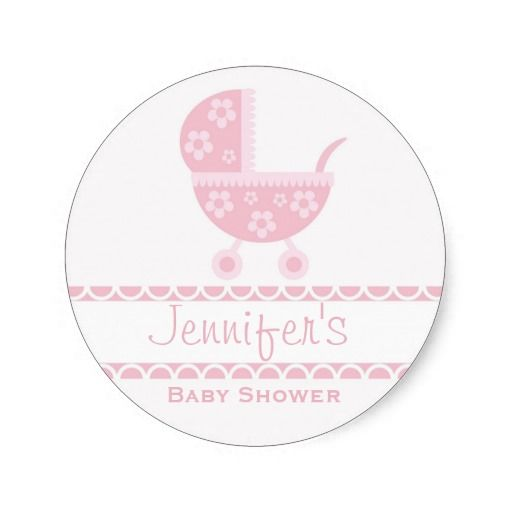 Give your party or shower a custom touch with these adorable baby girl flower stroller stickers! Fully customizable.
