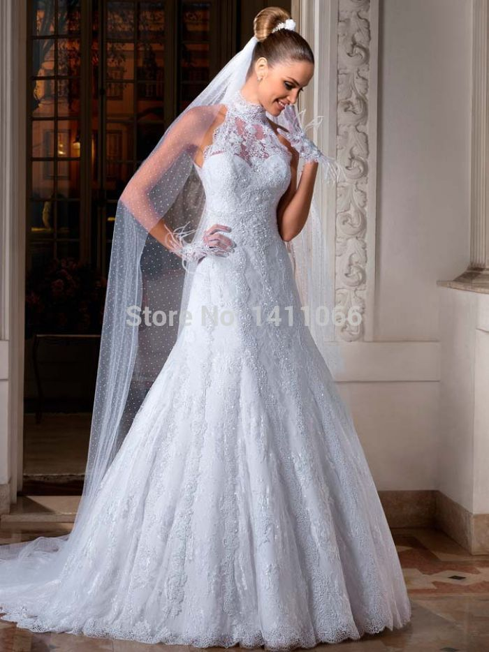 Nice Exquisite 2014 Hot Sell High Neck Lace Applique A Line Wedding Dresses Custom Made