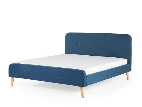 Łóżko granatowe - 160x200 cm  - łóżko tapicerowane - RENNES