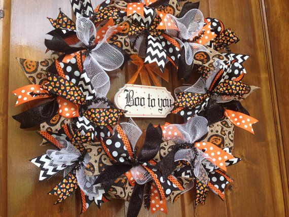 Halloween Wreath Halloween Ribbon Wreath Holiday Decor