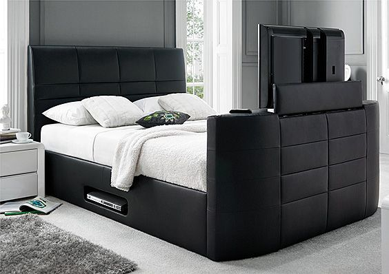 This is one of my favorite bedroom tv storage ideas and I'm actually considering buying this bed. This leather bed frame features a hidden television compartment that when lowered, automatically turns the television off for you. There is also a compartment on the bottom of the bed for your cable box or dvd player. This virtually eliminates the need for a television stand.