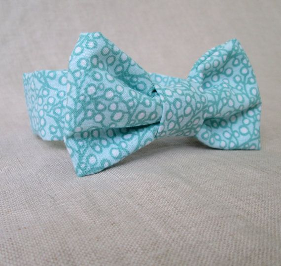 Boys Bow Tie - White and Teal Bow Tie Newborn Photo Prop to 2 Year Old Boy Photography Prop - Toddler Bowtie Baby Bow Tie Kids Mint Bow Tie