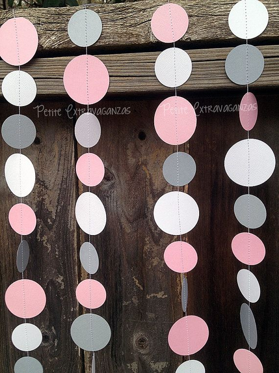 Pink and Gray Paper Circle Garland It's A Girl Baby Shower Decorations Bridal Shower Decorations
