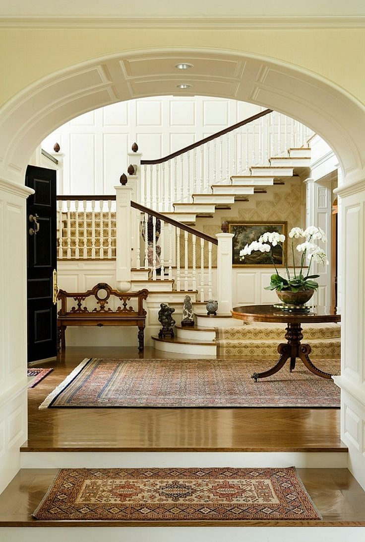 Navy greek key rug transitional entrance foyer libby langdon - Find This Pin And More On Staircases By Trove Stonehedge Farm By Catalano Architects Entryway