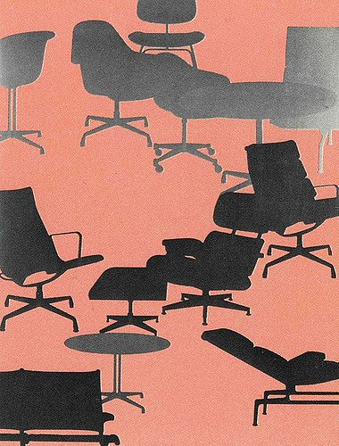 After WWII was over and @hermanmiller first started producing Eames chairs, production shot up to 2,000 a month. This in turn was one of the reasons for the concept of mass furniture installments in institutions such as airports and public buildings, our world today.  I don't know how this Herman Miller illustration was used but I like it very much.