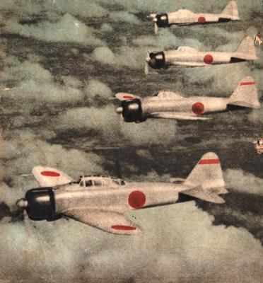 IJNAF Zero Fighters in japanese wartime magazine cover. 1942