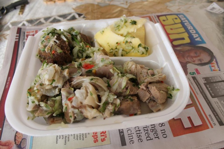 Pudding and souse with pickled breadfruit. Yummy!! More