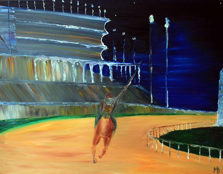 Melissa Doron Race at Churchhill Downs 26X34 Oil on Canvas