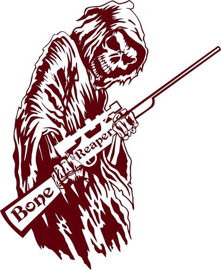 Details About Bone Grim Reaper Gun Rifle Hunting Deer Car