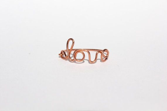 Rose Gold Love Wire Ring by MeekAndNeek on Etsy