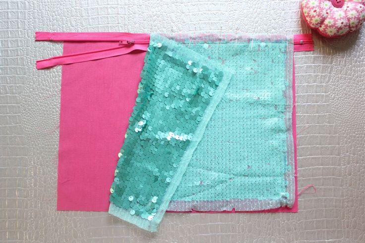 DIY: Cómo hacer un bolso de lentejuelas (sequin clutch) con cremallera ~ Sara's Code: Blog de Costura + DIY