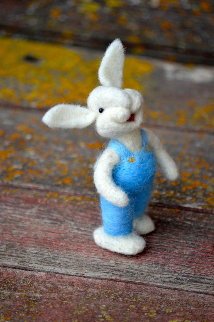 Needle Felted wool Bunny Rabbit by Teresa