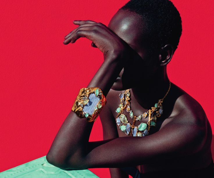 Statement gold and pastel jewelry (Ajak Deng by Julia Noni for Neiman Marcus March 2015)