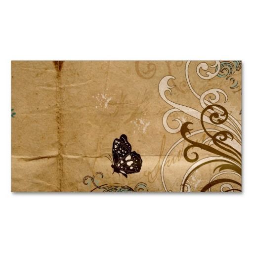 Vintage butterfly Profile Card Business Card Template