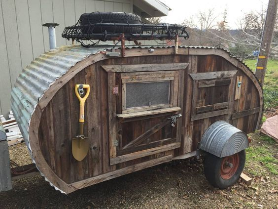If you don't mind looking like the Clampetts while you're camping, this handmade barn wood teardrop trailer will be perfect. Made from b...