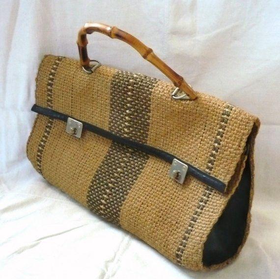 vintage straw woven hobo bag