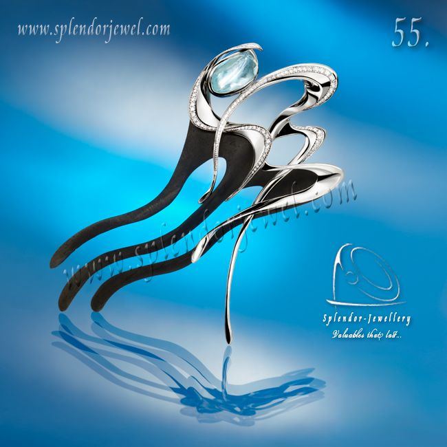 We won yet another award in the United Arab Emirates, thus Splendor-Jewellery can boast of having won 55 trophies from around the world. This hairpin made of ebony wood and white gold, decorated with briliant cut diamonds and fancy cut aquamarine. The jewellery piece has a one-of-a kind elegant design. This jewellery is inspired by ballet dance. Lear more and watch a video at www.splendorjewel.com