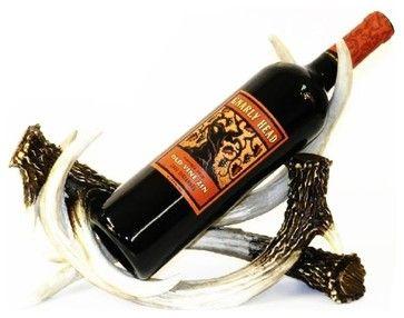 12 Inch Brown and White Deer Antlers Design Wine Bottle Holder farmhouse-wine-racks
