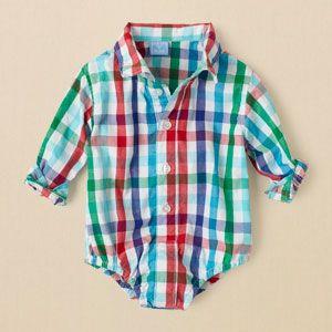 newborn - boys - checked dressy bodysuit | Children's Clothing | Kids Clothes | The Children's Place