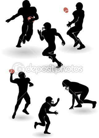 Siluetas de jugadores de fútbol americano.