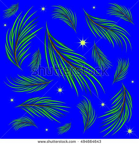 Background made of fir branches and stars. Winter pattern for design in green and blue tones. Grachyhamr