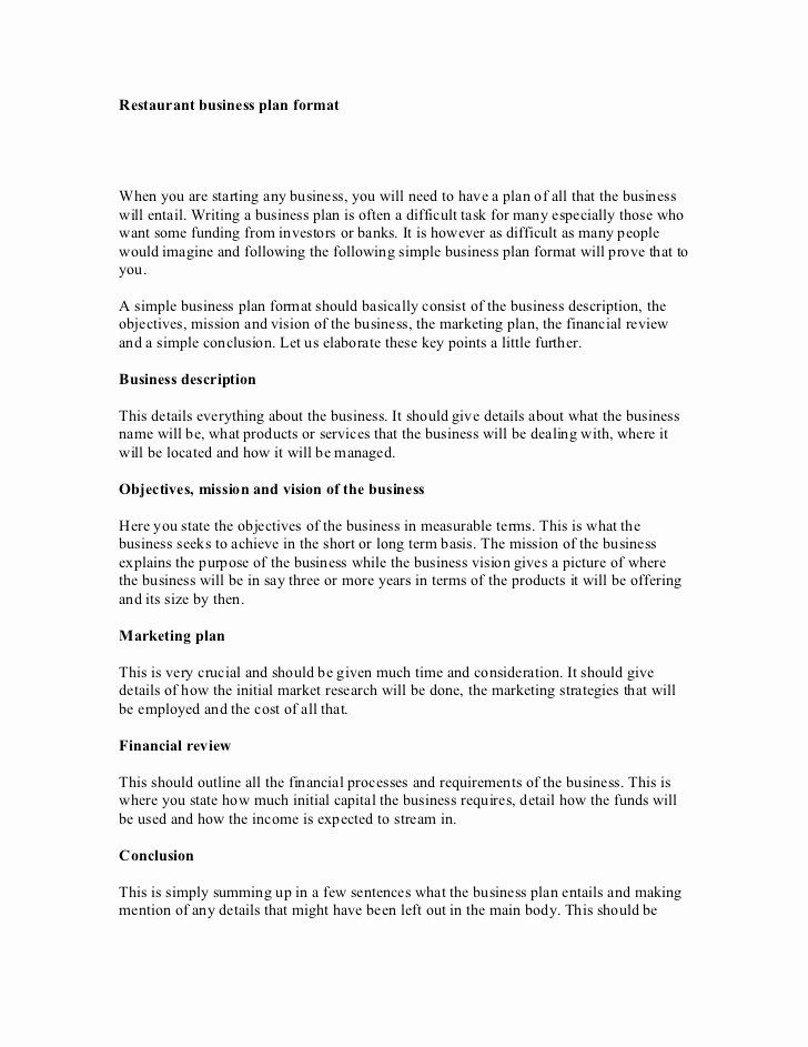 Restaurant Business Plan Template In 2020 With Images Business