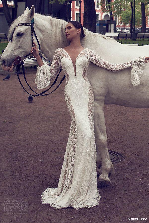 nurit hen 2016 bridal illusion long sleeves bell split sweetheart sheath wedding dress (08) elegant mv