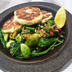Lemony Parmesan Ricotta Fritters with Brussels Sprouts and Kale Salad