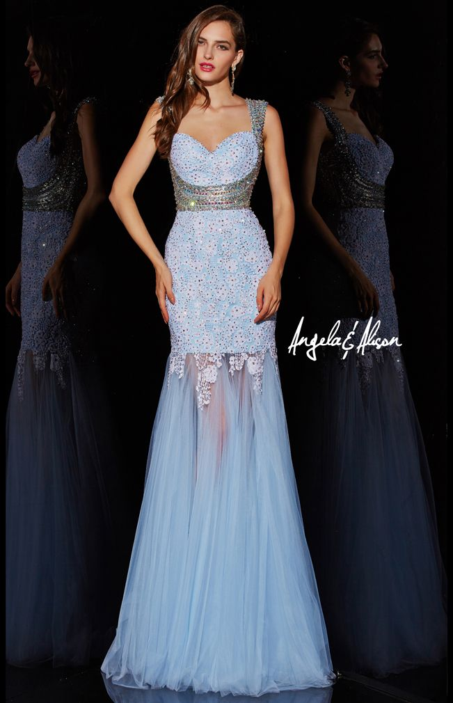Style 51018 illusion sweetheart neck line with lacy overlay and beaded straps and chiffon skirt.   prom, homecoming, pageants and formal