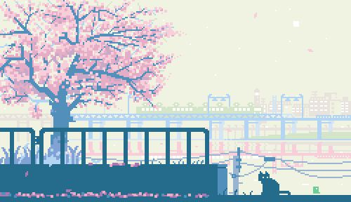 One of the many beautiful, serene GIF animations depicting life in Japan, by @1041uuu. #cats #GIFs #Japan