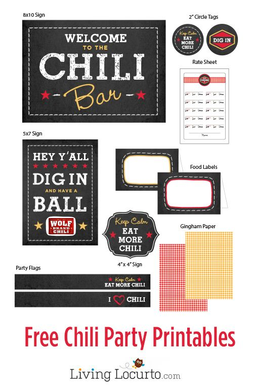 Free Chili Bar Party Printables - The Ultimate Chili Bar with Wolf Brand Chili & Giggles Galore #1TexasChili #ad.