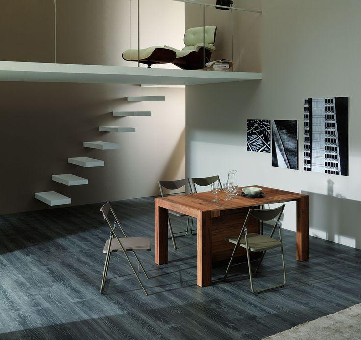 Extending rectangular wooden console table A4 by Ozzio Design | design Marco Pozzoli, Giacomo Mauro