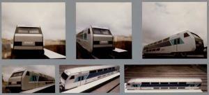 Vue des maquettes, échelle 1. Projet train Corail V2N, 1987. Photographies | Centre de documentation des musées - Les Arts Décoratifs