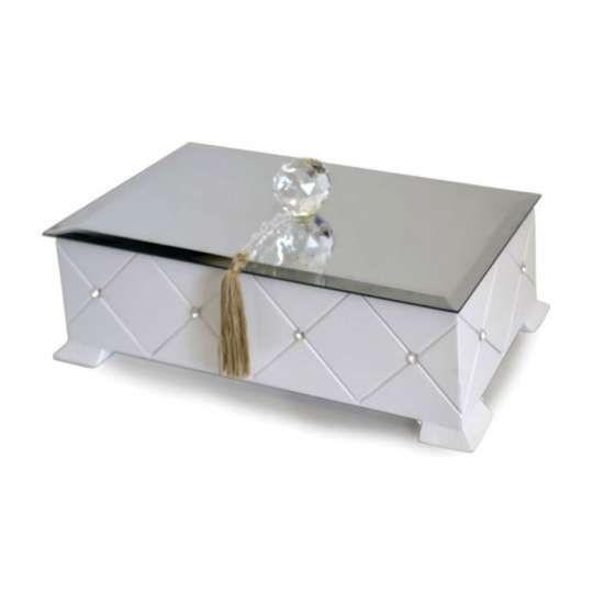 Caixa Madeira Laca Branca Espelho Bisote Bola Cristal Strass Swarovski 7x30x15
