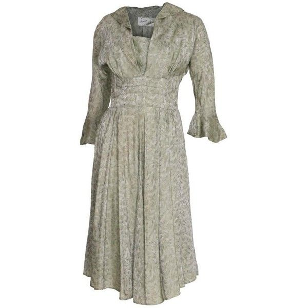 Preowned Marion Michael 1940s Sage Green Tea Dress ($284) ❤ liked on Polyvore featuring dresses, green, tea gowns, patch dress, white day dress, sage green dress, rouched dress and green tea dress