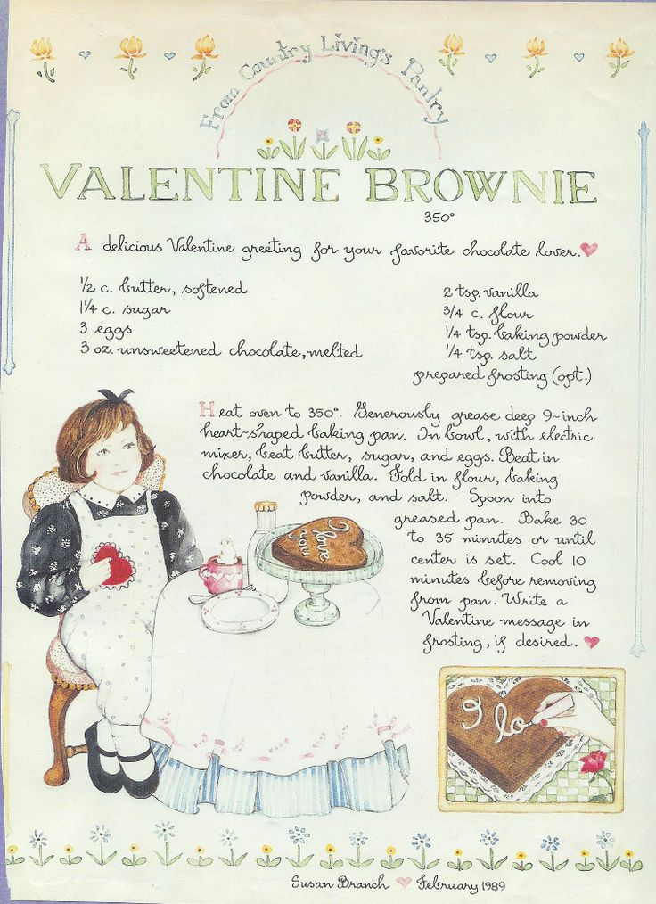 Valentine Brownie, Susan Branch for Country Living Magazine