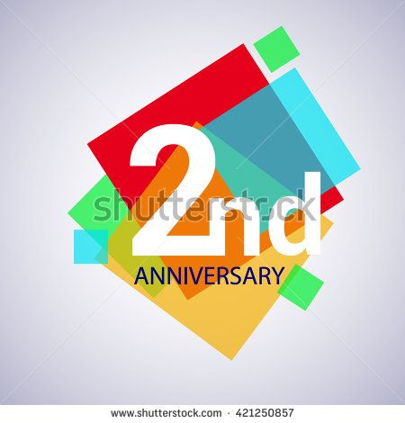 2nd anniversary logo, 2 years anniversary colorful vector design. geometric background. - stock vector