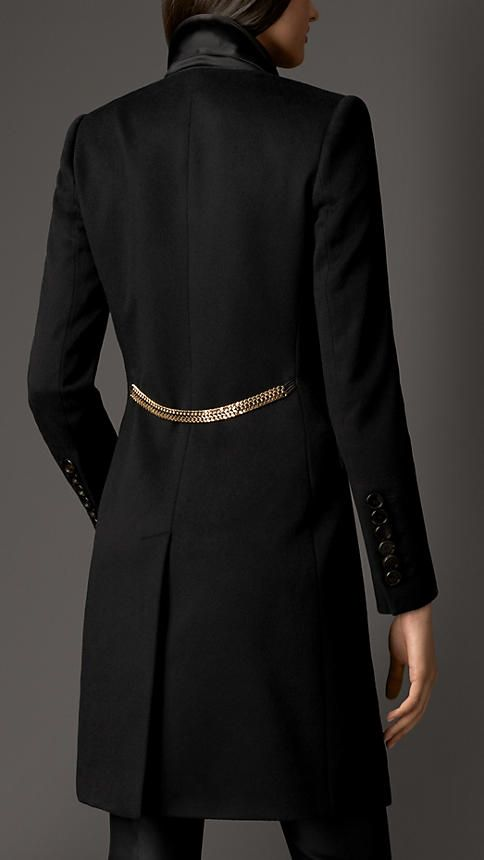 Burberry London Chain Detail Cashmere Tuxedo Coat