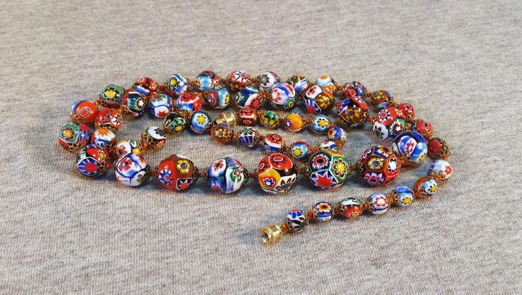 "Vtg Venetian Murano Millefiori Art Glass Graduated Beads Bead Ball Necklace 28""L…"
