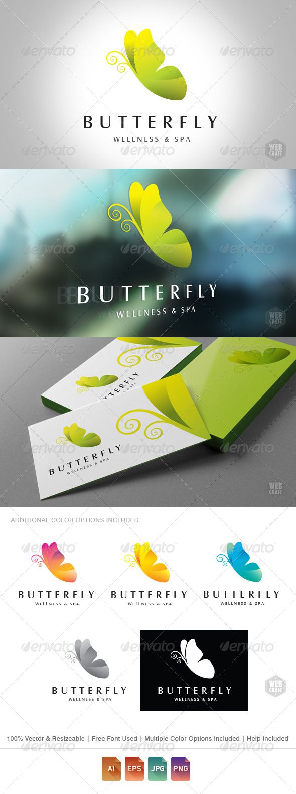 Logotype butterfly and letter b in different colour variants on a - Butterfly Wellness And Spa Logo Template Nature Logo Templates