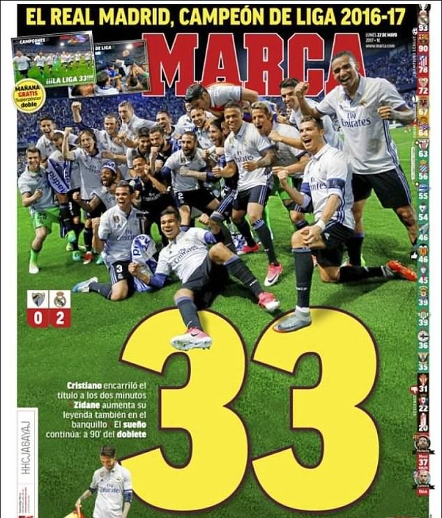 Madrid-based outlet Marca followed in suit, focusing on the club's 33rd league triumph...