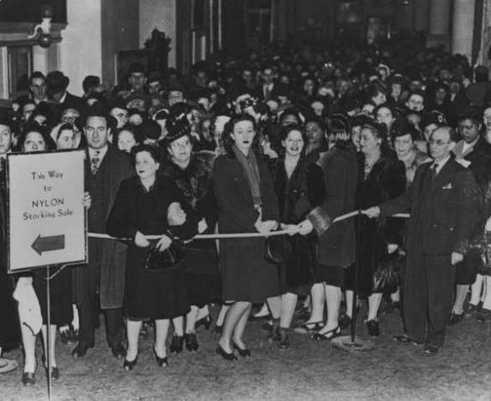 The Nylon Riots of 1945, Before World War II one of the most popular consumer goods were nylon stockings. However when the US entered the war in 1941 stockings became a scarce commodity. In Pittsburgh 40,000 women crowded the streets to buy one of the only 13,000 pairs that were available. While the craziness was peaceful for the most part, at some places the competition became rowdy as women formed mobs who bashed through doors, overturned store displays, and brawled against each other.