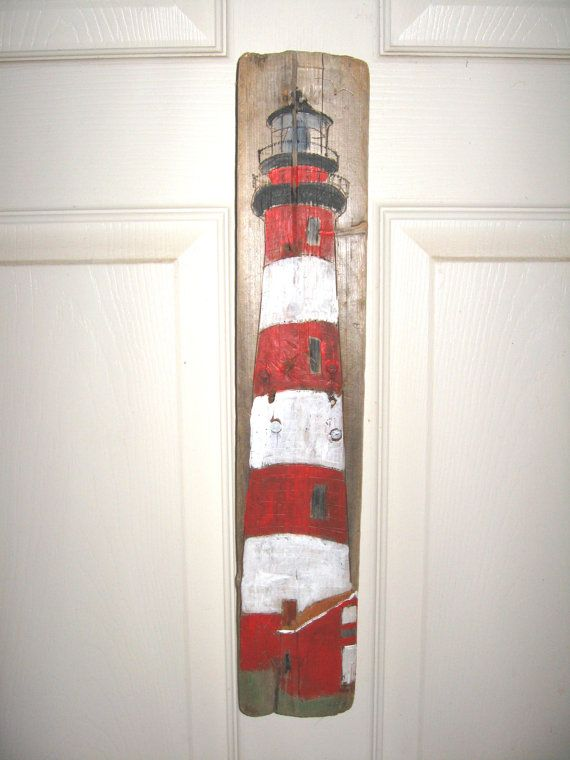 Items similar to Assateague Island Lighthouse VA Painting on Driftwood by Susan Thau on Etsy