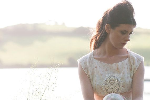 Floral lace white and pink sequin rose embellished crop top by AliceHalliday on Etsy