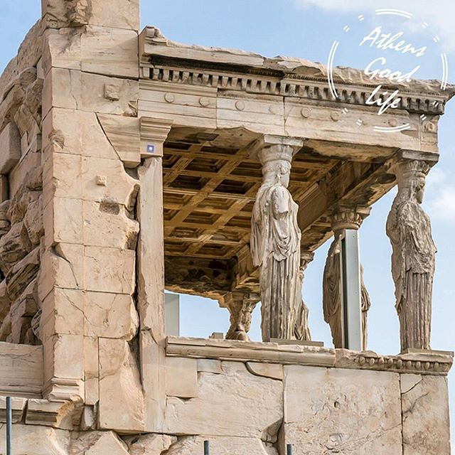 The origins of #Caryatids in #Erechtheion are yet not clear. One explanation is that they are representative of the decorative female figures used in Ancient Greece. Another one says they represented the punishment of the women of Karyæ, who were condemned to slavery after betraying #Athens by siding with #Persia in the #Greco-Persian Wars.  #AthensGoodLife #CityBreakAgenda #visitAthens #Greece #beautifularchitecture Photo @juanverni