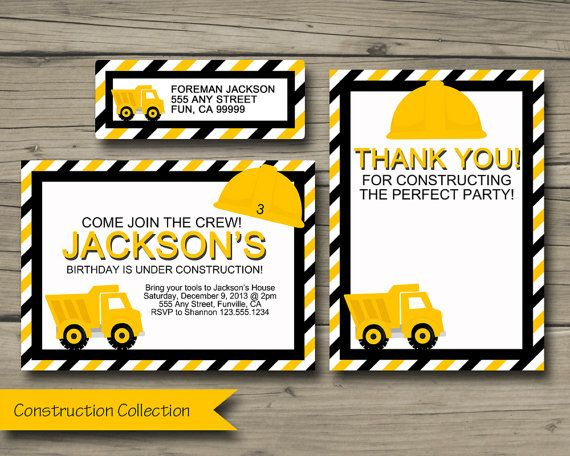 Construction Invitation, Thank You, and Address Labels