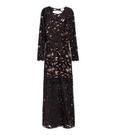 Kanten maxi-jurk | Zwart | Dames | H&M NL